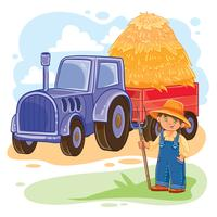 Vector illustration of a little boy farmer