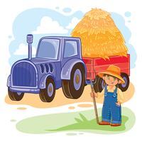 Vectorillustratie van een kleine jongenslandbouwer