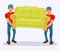 Two men carries a sofa