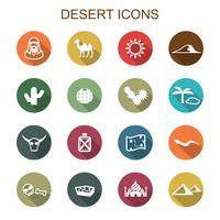 desert long shadow icons vector