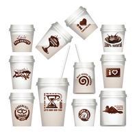Plaats plastic bekers met chocolade labels