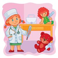 Little girl doctor treats their toys