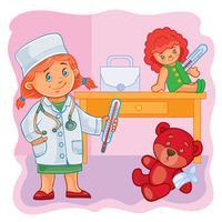 Kleine Ärztin behandelt ihre Spielsachen