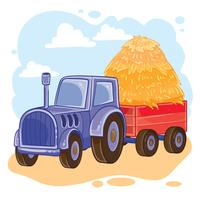 Vector illustration of cartoon tractor with trolley