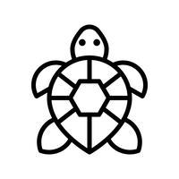 Vector de tortuga, icono de estilo de línea relacionada tropical