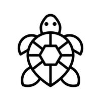 Vetor de tartaruga, ícone de estilo de linha relacionada tropical