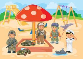 Niños pequeños diferentes profesiones jugando en el patio de recreo.