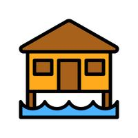 Vettore del bungalow, icona di stile riempita relativa tropicale