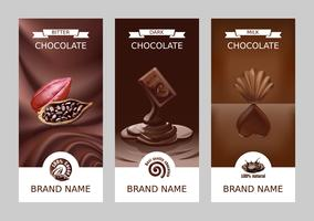 Definir banners de chocolate vertical de vetor realista