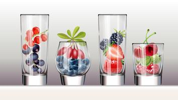 Set of icons glasses with a variety  fresh berries