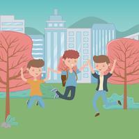 Jugendlichjungen- und -mädchenkarikaturdesign