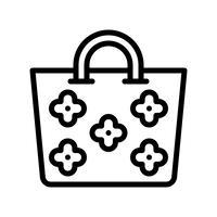 Vecteur de sac d'été, icône de style ligne connexe tropical