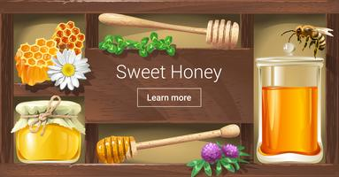 Vector illustration of a wooden rack with honey