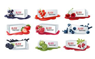 Set of sweet berry vector banners.
