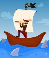 Piraat leidt zijn schip