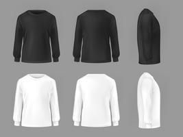 Gesetzte Schablone des Vektors von männlichen T-Shirts mit langem Ärmel