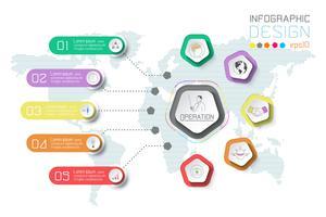 Geschäftsaufkleber infographic auf Weltkartehintergrund.