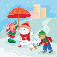 Vector Illustration von den kleinen Kindern, die draußen im Winter spielen