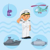 Weinig jongenszeeman met een oorlogsschip, een onderzeeër en een helikopter