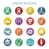 check in long shadow icons vector