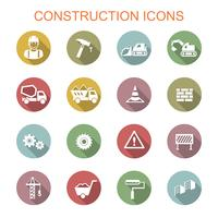construction long shadow icons vector