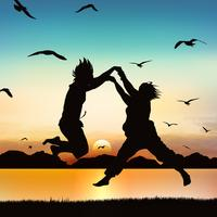 Happy girls are jumping, on silhouette art.