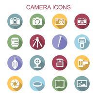 kamera långa skugg ikoner