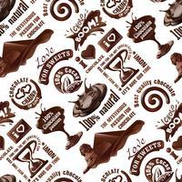 Vector naadloos patroon van chocoladeetiketten