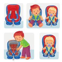 Conjunto de ícones de crianças pequenas em assentos de carro