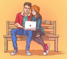 Young couple sitting on a bench and listen to music