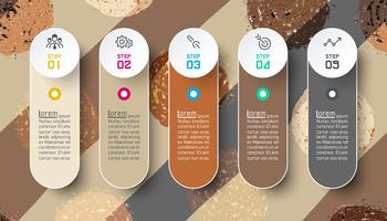 Progettazione di infographics sul fondo dell'estratto del cerchio di colore.