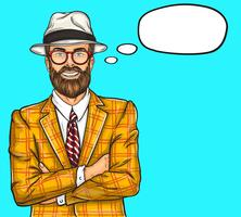 Confident pop art hipster man