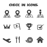 check in icons vector