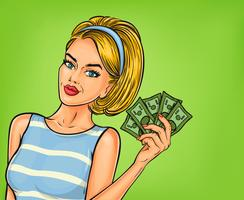 Vector pop art girl con dinero en efectivo