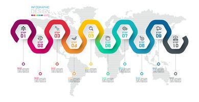 Hexagon Label mit farbigen Linien verknüpften Infografiken.