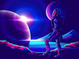 Space Exploration Art in Comic Style vector