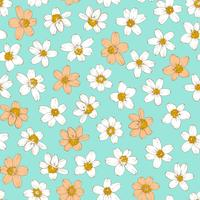 Colorful flowers seamless background. vector