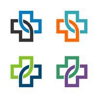 Hälso- och sjukvård Cross Infinity Line Logo Mall Illustration Design. Vektor EPS 10.