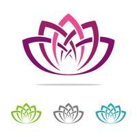 Stellen Sie Lotus Flower Logo Template Illustration Design ein. Vektor EPS 10.