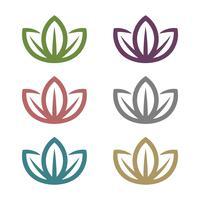 Bunter Blumen-Satz für Badekurort Logo Template Illustration Design. Vektor EPS 10.