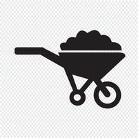 Wheelbarrow cart icon symbol Illustration