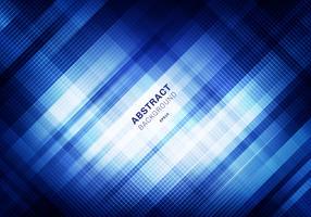 Reticolo di griglia blu a strisce astratto con illuminazione su sfondo scuro. Piazze geometriche che si sovrappongono allo stile della tecnologia di progettazione. È possibile utilizzare per la progettazione di copertine, brochure, poster, pubblicità, sta