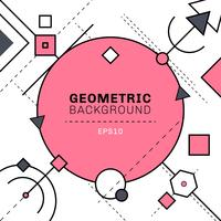 Abstract pink and gray geometric and dash lines composition on white background with space for text. Circles, squares, triangles, hexagon, elements.