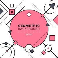 Composition abstraite de lignes géométriques et tiret rose et gris sur fond blanc avec un espace pour le texte. Cercles, carrés, triangles, hexagone, éléments.