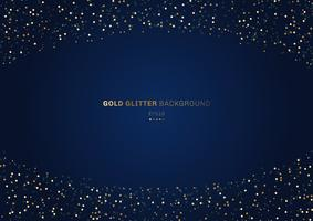 Gold glitter circles festive on dark blue background with space for your text.