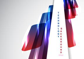 Abstract perspective blue and red shiny geometric shapes overlapping moving technology futuristic style presentation on white background with copy space.