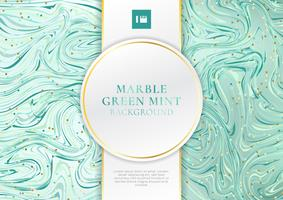 Green mint marble background and texture with white and golden label luxury style space for text.