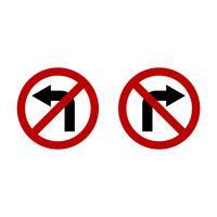 No Turn Left o No Turn Right Sign Illustrazione Design. Vettore ENV 10.