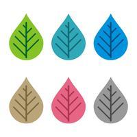Stellen Sie Blatt oder Tropfen-Wasser Logo Template Illustration Design ein. Vektor EPS 10.