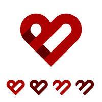 Progettazione dell'illustrazione di progettazione dell'illustrazione di Logo Template del cuore di rosso della lettera di B. Vettore ENV 10.